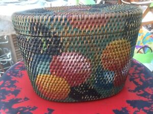 Vintage Asian hand painted sewing basket $35.00
