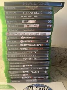 XBOX1 XBOX ONE XBOXONE GAMES GAMING BUNCH LOT 24 ACTION NFL CALL DUTY TITAN FALL $105.00