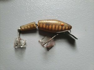 Vintage Opaque Eyes Lamp;S Pike Master 35 Jointed Fishing Lure Bait 1940 Crankbait