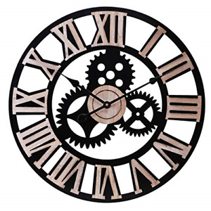 INFINITY TIME Silent 24Inch Metal Gear Wall Clock Large 3D Retro Rustic Luxury $64.73