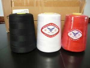 THREE LARGE SEWING SPOOLS RED WHITE AND BLACK 8000 YARDS PER SPOOL BLACK WAS USE $10.99