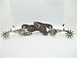 Vintage NORTH  JUDD ANCHOR Chrome Plated Spurs w Embossed Horse Heads Sharp
