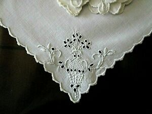 VIntage MADEIRA Hand Embroidered Eyelet White Tea Luncheon NAPKINS 6@ 11 1 2quot; $25.00