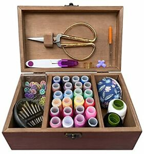 Wooden Sewing Kit Box for Adults Beginners with Cute Accessories Retro Brown $36.35
