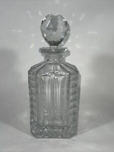 Unique Square Crystal Whiskey Wine Decanter Round Crystal Stopper Vtg?