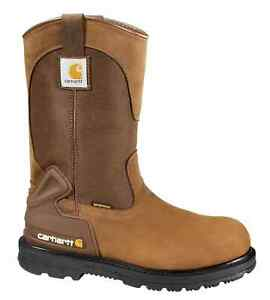 Carhartt Mens 11 Wellington WP Steel Toe Bison Brown Leather Pull On Boot 11.5 $124.90