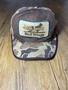 Vintage Red Wings Irish Setter Camo Cap Hat Ear Flaps Sz XL Hunting Thinsulate
