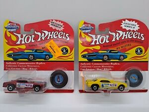 Vintage Hot Wheels Redline yellow Snake and red Mongoose 2 car lot on card pair