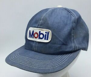 Mobile Oil K Products Patch Snapback Cap Hat Lt Blue Denim Unstructured Made USA $79.99