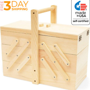Vintage Style Wooden Sewing Box Design Storage Cantilever Case Kit 12.5 x 8.25 $50.94