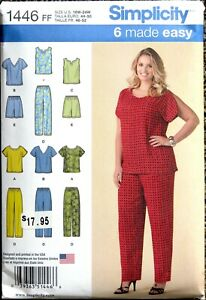 1446 FF Simplicity Easy Sewing Pattern Women's Tops Pants amp; Shorts 18W 24W $4.99