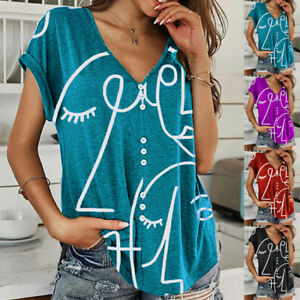 Womens V Neck Short Sleeve Blouse Casual Printing Button T Shirt Loose Beach Top