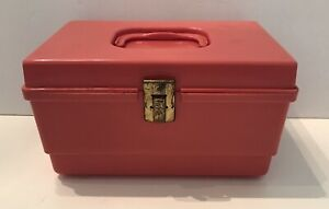 Vintage Small Plastic Sewing Box Pink with Removable Tray Travel Kids 10x6x7 $12.99
