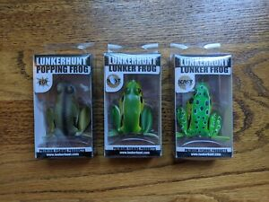 Lunkerhunt Lunker Frog x2 amp; Popping Frog x1 2.25in 1 2oz Lot of 3 New