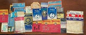 Vintage Sewing Lot Pearl Buttons Hook Eyes Gold Frog Closures Loops $11.99