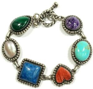 Sterling Silver Marcasite MoP Lapis Coral Turquoise Charoite Bracelet 7 1 2 $199.00
