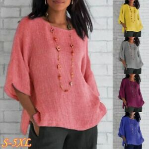Womens Summer 3 4 Sleeve Solid Blouse Crew Neck Comfy Tunic Casual Plain T Shirt $14.54