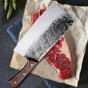Handmade Forged cleaver butcher knife Full Tang chef knife High Carbon Clad