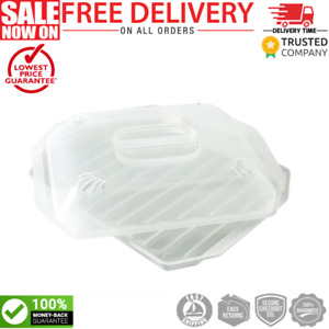 Microwave Bacon Grill Cooker Cookware Tray Rack Pan Cover Kitchen White New