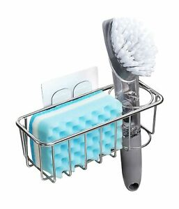 Adhesive Sponge Holder Brush Holder 3 in 1 Sink Caddy SUS304 Stainless St...
