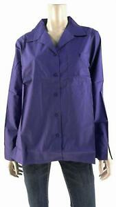 Las Olas Womens size M Shirt Top Button Down V Neck Boxy Solid Purple Work Tee $4.99