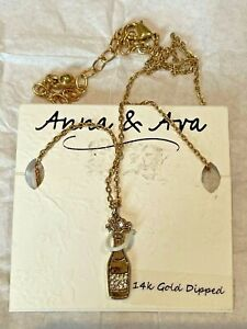Anna Ava Necklace Pendant Crystals Champagne Bottle Bling 14k Gold Dipped $19.99