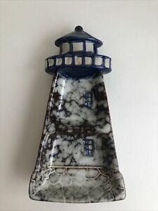 Lighthouse Double Spoon Rest Or Trinket Dish Ceramic Blue White Nautical 7x4in