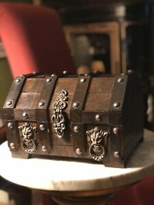 Vintage Wooden Jewelry Box. Treasure Chest Dowry. $49.95