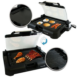 INDOOR GRILL GRIDDLE Smokeless BBQ Portable Electric POWER Black Non Stick 1700