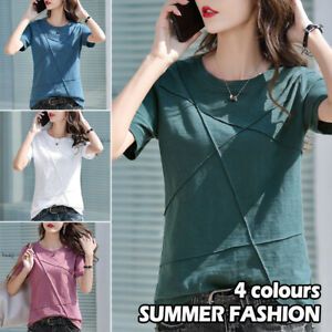 Women T Shirt Summer Round Neck Short Sleeve Solid Slim Casual Blouse Loose Tops