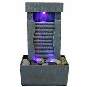 Tabletop Water Fountain Indoor Waterfall Color Changing LED Light Rainfall Relax $25.91