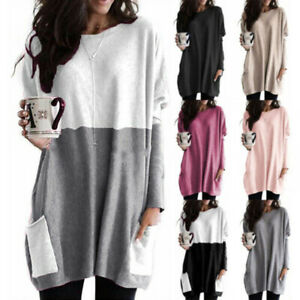 Women Crew Neck Long Sleeve Blouse Casual Loose Pocket T Shirt Solid Tunic Tops $12.37