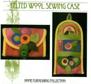 Felted Wool Sewing Case Pattern Quilt Primitive Folk Art Wool Flowers Buttons $10.99