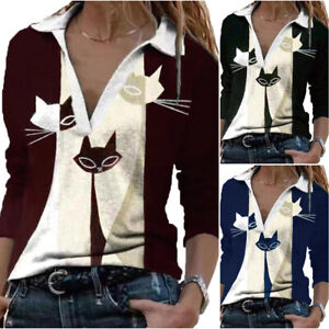 Womens Long Sleeve Cat Printed V Neck Lapel Blouse Casual Baggy Pullover T Shirt