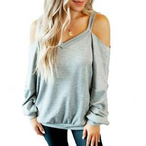 Women#x27;s Cold Shoulder Sweatshirt T Shirt Long Sleeve Pullover Casual Blouse Tops