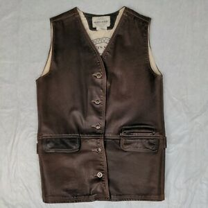 SKOTTS SUEDE Women#x27;s Sz S Brown Leather Machine Washable Vest Made in Canada C $29.99