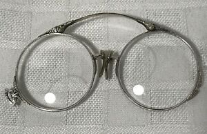 Antique Folding Eyeglasses Glasses Spectacle Pinch Pince Nez Silver with Case $41.99