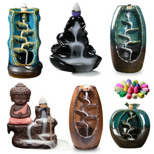 Waterfall Incense Burners Ceramic Backflow Censer Holder Home Decor w Free Cones $10.99