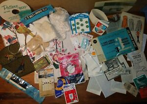 Vintage Sewing Ephemera Notions Fabric Doilies Buttons Snaps Pages Ads $10.50