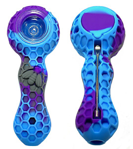 Unbreakable Silicone Tobacco Pipe with Glass Bowl Honeycomb Purple Blue $9.99