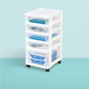 Plastic Storage Drawer Rolling Cart with Organizer 5 Tiers White