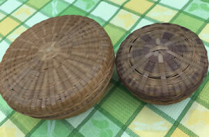 2 Vintage Asian Woven Wicker Sewing Baskets Round 7quot; amp; 9.5quot; W Lids $13.99