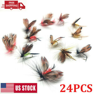 24Pc Fly Baits Fishing Flies Assortment Dry Bass Trout Fly Fishing Lure Hook Set