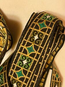 VINTAGE EMBROIDERY TRIM SEWING BLACK GOLD GREEN WHITE 1quot; X 8.55 YARDS $21.00