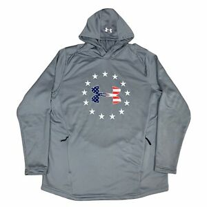 Under Armour Hoodie Mens Extra Large Gray Blue American Flag Fitted Adult $24.49