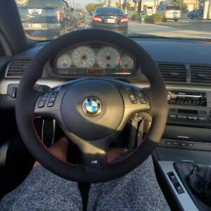 Hand Sewing Black Suede Leather Steering Wheel Covers Wrap For BMW E39 E46 M3 $49.99