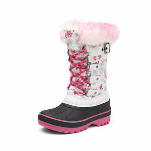Boys Girls Snow Boots Insulated Winter Warm Knee High Ski Boots Kids Size 9T 6