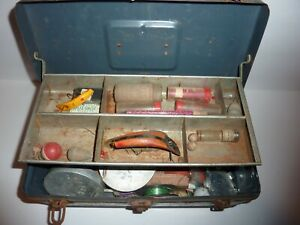 Vintage Tackle Box Loaded with Old Lures and Tackle Marblehead Reel C PICS