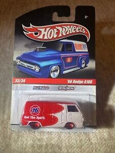 Hot Wheels Slick Rides GULF #x27;66 Dodge A100 Red White REAL RIDERS