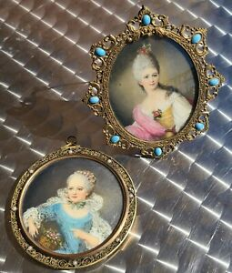 PAIR ANTIQUE PORTRAITS MINIATURE SIGNED NATTIER FANCY CASES DOUBLE SIDED FRENCH $550.00